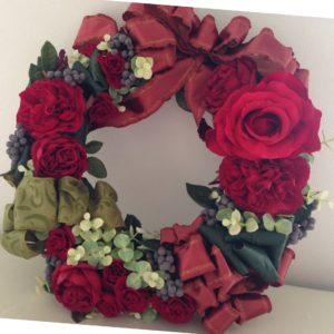 クリスマスリース 赤いリース バラのリース